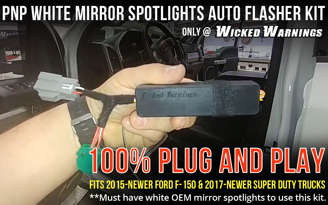 Strobe Factory Mirror Lights with New Plug and Play Auto Flasher Kit